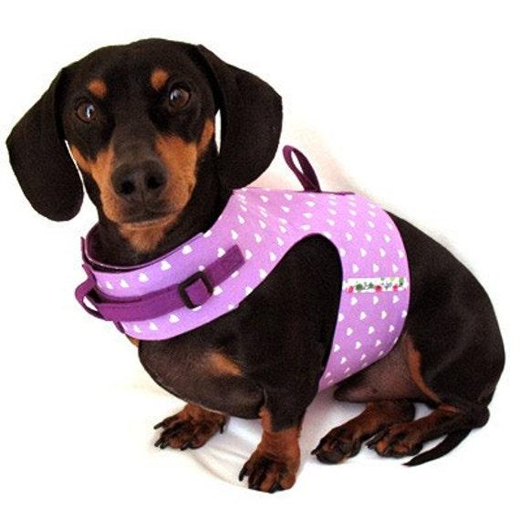 Eco Dog Harness - Purple Hearts - SM