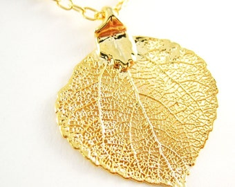 24k Gold Aspen Leaf Necklace Nature Jewelry Large Skeleton Leaf Mothers Day Jewelry Gift for Women