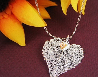 Silver Leaf Heart Necklace Holiday Mothers Day Gift Cottonwood Leaf Jewelry Skeleton Necklace