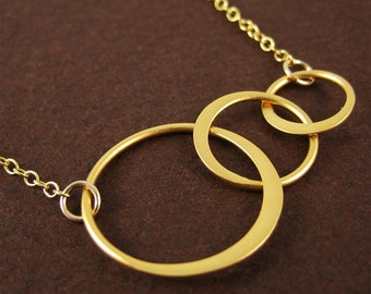 Gold 3 Ring Necklace Everyday Jewelry Modern Geometric Simplicity Gold Jewelry Gift for Women Under 50