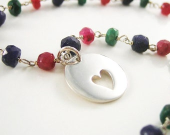 Fall Fashion Sterling Silver Love Heart Bracelet Disc Charm Modern Jewelry Ruby Sapphire Emerald Gemstone Chain Gift for Women