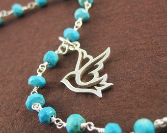 Sterling Silver Peace Dove Bracelet Silver Bird Jewelry Blue Turquoise Gemstone Chain Gift under 50 Holiday Sale