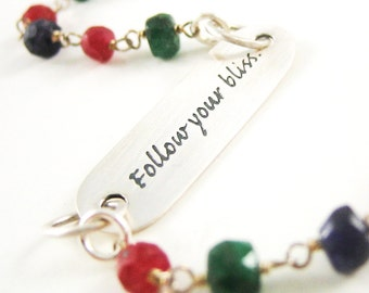 Sterling Silver Follow-Your-Bliss Bracelet Quote Bracelet Ruby Sapphire Emerald Gemstone Gift for Daughter Holiday Sale