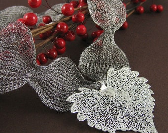 Agatha Necklace Large Silver Skeleton Cottonwood Leaf Nature Titanium Ribbon Jewelry Gift under 50