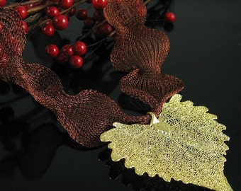 Christy Necklace 24k Gold Cottonwood Leaf Necklace Nature Jewelry Mothers Day Gift for Her