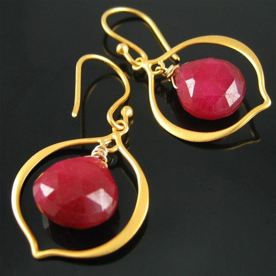 GIFT for Women SALE Gold Exotic Petal Earrings Hot Red Chalcedony Gemstone Unique Gift Valentine Love Flower Ready to Ship
