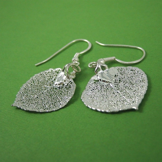 Silver Aspen Leaf Earrings Real Leaf Nature Jewelry Bridal Jewelry Wedding Gift Ready to Ship