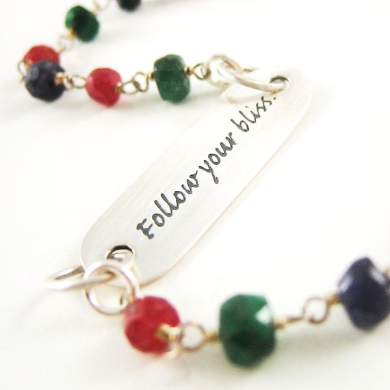 HOLIDAY SALE Sterling Silver Follow-Your-Bliss Bracelet Quote Bracelet Ruby Sapphire Emerald Gemstone Gift for Daughter