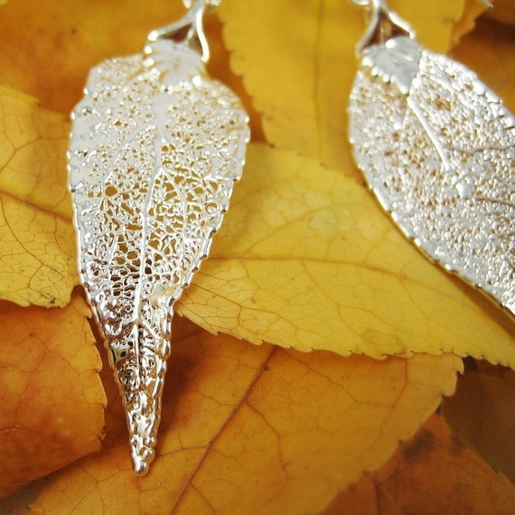 RESERVED for J - Fine Silver Evergreen Leaf Earrings Dangle Earrings Nature Jewelry Gift for Women