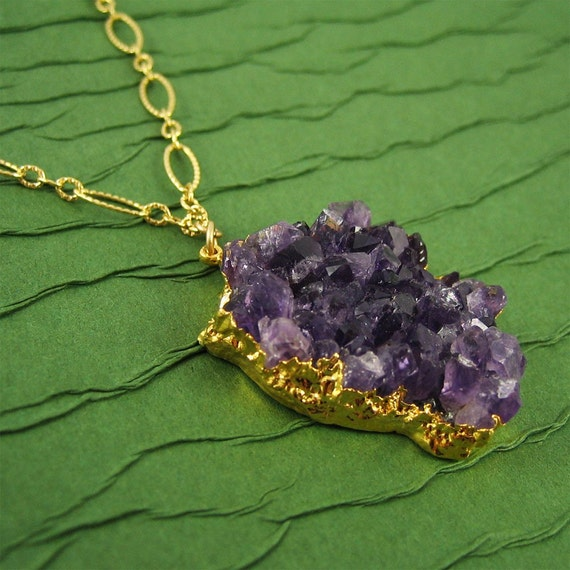 Purple Beauty Necklace Amethyst Gemstone Pendant Gold Natural Jewelry Gift for Women Birthday February Birthstone