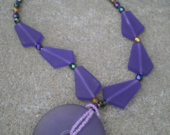 jewel tones and purple resin necklace
