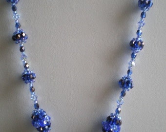 Blue Beaded Bead  Necklace