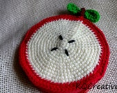 Crochet Coin Purse with Zipper-Half of my apple