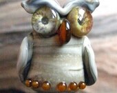 Sculptural Lace Agate Lampwork Owl Focal - Stone Look