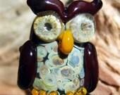 Sculptural Dark Brown, Orange Brown and Raku Organic Lampwork Owl Focal