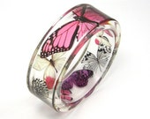 Fuchsia, pink and Purple Butterflies Resin Bangle