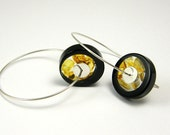 Amber Black Earrings, Sterling Silver Resin Earrings With Baltic Amber