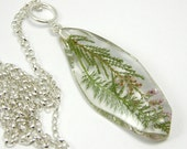 Resin Necklace - Leaf Pendant. Heather and Yarrow .