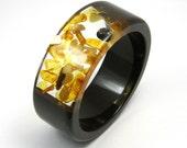 Resin and Amber Bangle - Dark Chocolate bracelet model 1/4 /M