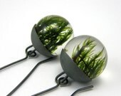 Silver Resin Earrings, Moss Resin Earrings