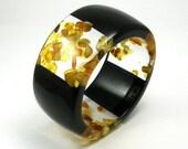 Black Resin and Amber Bangle model 3/3 /S, Resin Bracelet