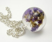Resin Necklace with Purple Flowers, Floral Necklace