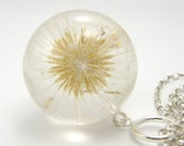 Delicate Dandelion Pendant, resin pendant, floral pendant, resin necklace