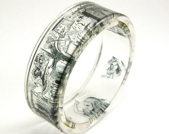 Alice in Wonderland Bracelet, Resin Bangle with Print