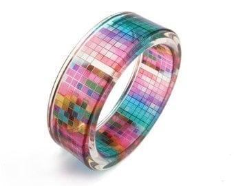 Multicolor Bracelet, Resin Bangle, Resin Bracelet with Art Graphic