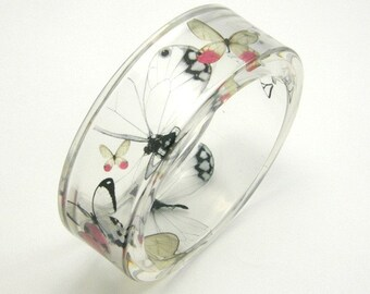 Resin Bangel -  Butterflies Bracelet - Summer