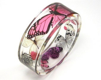 Pink Bracelet, Pink, Purple Butterflies in a Resin Bangle, Botanical Jewelry