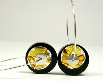 Black Amber Earrings, Baltic Amber Black Earrings in Sterling Silver, Round Earrings, Modern Geometric Earrings