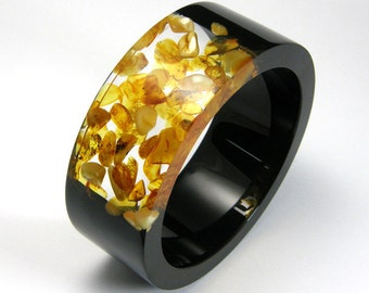 Amber Bracelet, Clear and Black Resin Bangle with Amber, Original Baltic Amber Jewelry