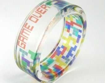 TETRIS Bracelet, Game Over Bangle, Digital Print in Clear Resin, Geek Jewelry, Nerd Jewelry