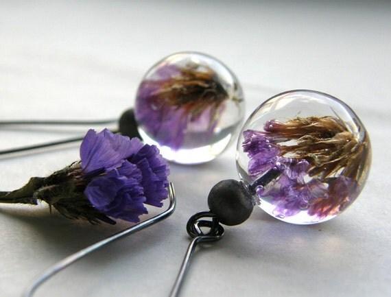 Vintage Earrings with purple flowers/reserved for RustyKey