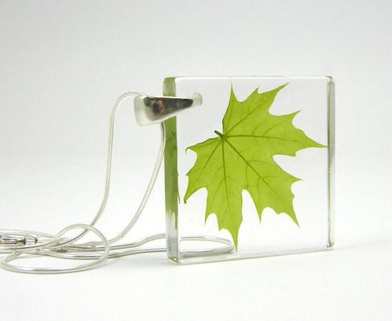 Resin Necklace -  Green Leaf Pendant. First Maple Leaf.