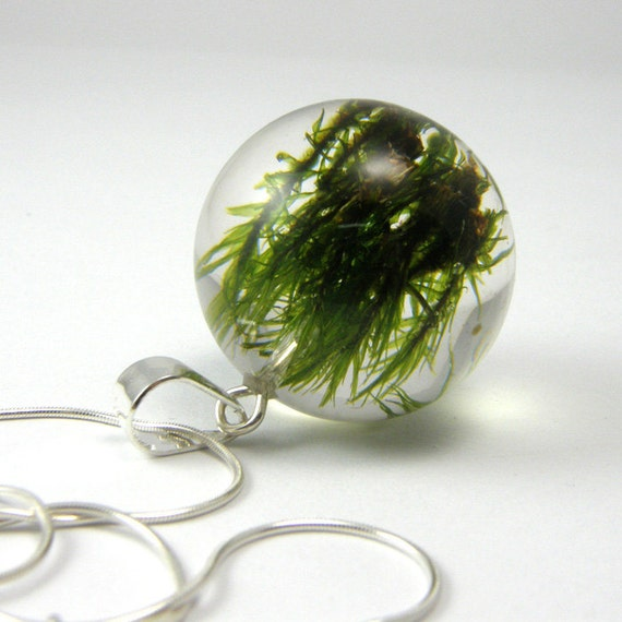 Green Moss Resin and Silver Necklace, Small Moss pendant