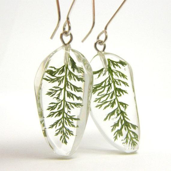 Yarrow Leaves Resin Earrings, floral earrings, Earrings with leaves