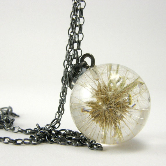 Dandelion Resin and Oxidized Silver Necklace, Small Dandelion pendant