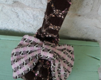 Pink and Brown Wristlet with Bow