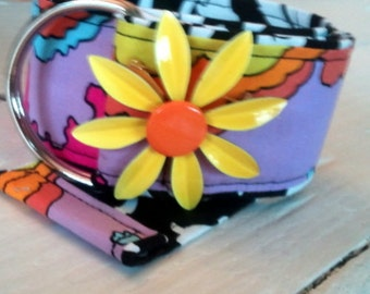 Botique Flower Power Belt in Peter Max Inspired Fabric