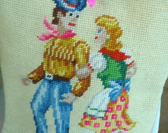Half Price Sale Vintage Square Dancing Couple Needlepoint Handbag