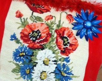 Half Price Sale Vintage Flower Needlepoint Handbag