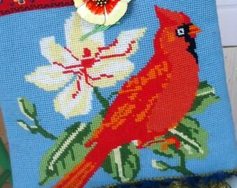 Vintage Red Cardinal Needlepoint Handbag