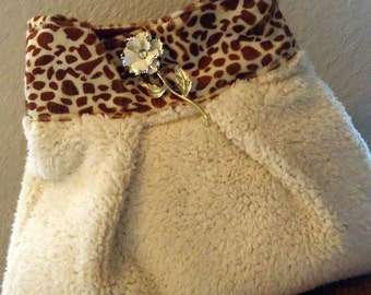Half Price Sale SlouTchy BaG in Faux Sherpa and Leopard