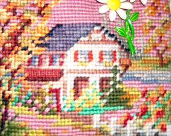 Vintage Cottage Needlepoint Handbag
