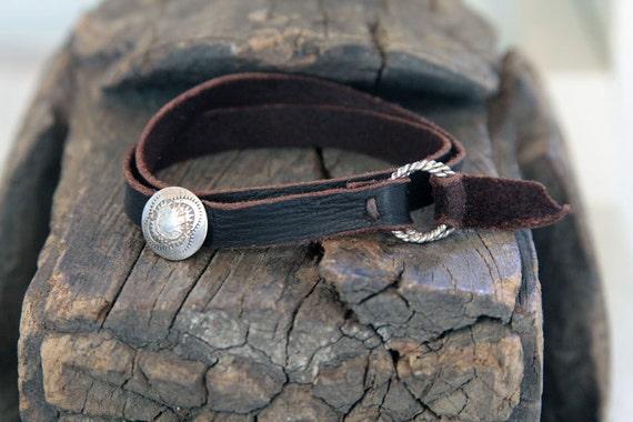 Leather strapped wrap bracelet