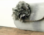 2011 spring collection, shimmery silver peony clutch