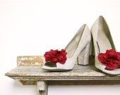Red silk shoe clips, wedding shoes, clip on flower, bridesmaid gift, custom wedding