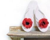 beach wedding, poppy flower, shoe clip, coastal wedding, bridesmaid gift